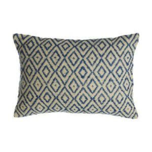Blue diamond print rectangular cushion