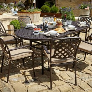 2018 Hartman Berkeley 8 Seat Dining Set with oval Table - Bronze