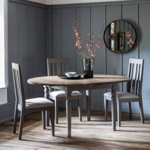 The Rural Round Ext Oak Dining Table – Slate Grey (1.2m)