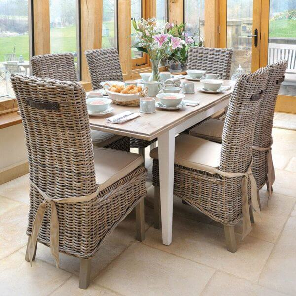 Classic Extending Dining Set with 6 Rattan Chairs (1.5m)