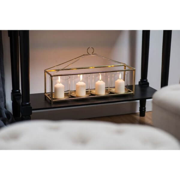 Gold four candle holder