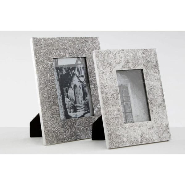 Bowerbird 5x7 Photo Frame Silver Etched Design