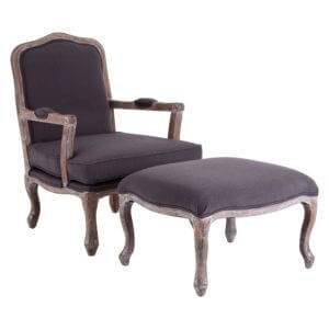 The Rocaille Chair and Footstool (Grey Linen Mix)