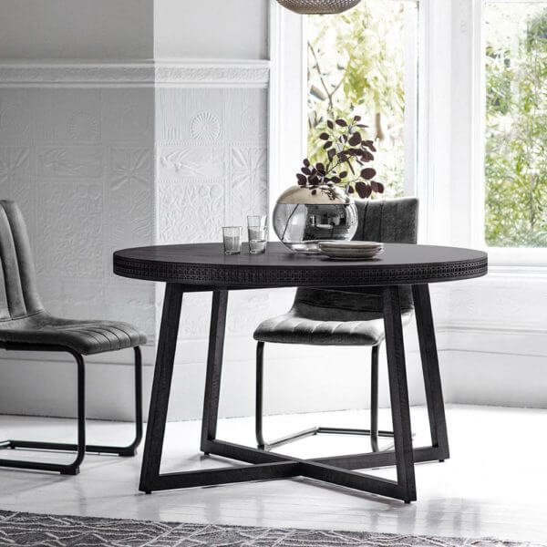 Chic Black Round Dining Table Set (1.2m)
