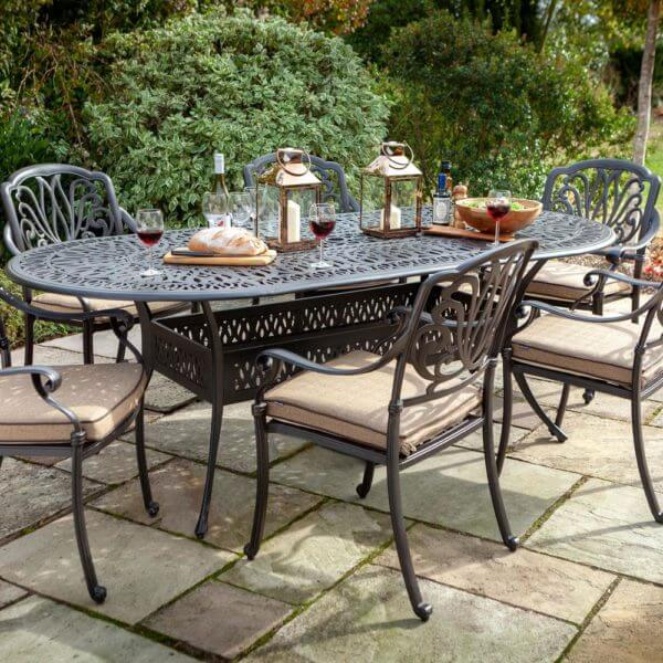 2019 Hartman Amalfi 6 Seat Oval Dining Table Set - Bronze/Amber