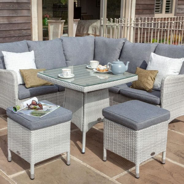 2019 Hartman Curve Square Garden Dining Table Set - Grey / Charcoal