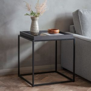 Matte Oak Tray Side Table Charcoal
